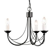 Carisbrooke 3 Light Gothic Style Chandelier finished in Black - ELSTEAD CB3 BK